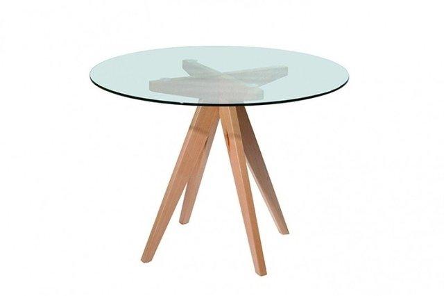 mesa redonda madera y vidrio - Mesa Redonda Madera