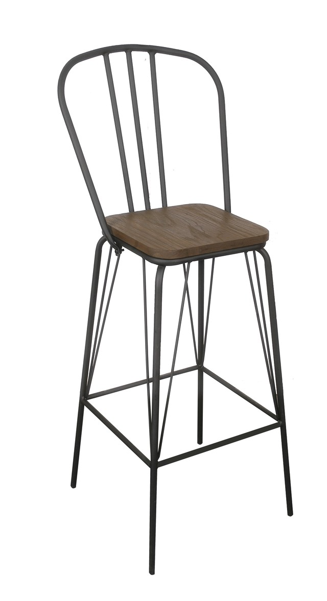 Banqueta industrial con asiento de madera cobre for Sillas plasticas modernas