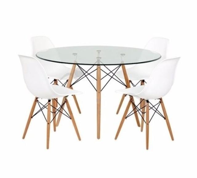 Mesa eames de vidrio 110 4 sillas eames emuebles for Mesa de cristal y 4 sillas