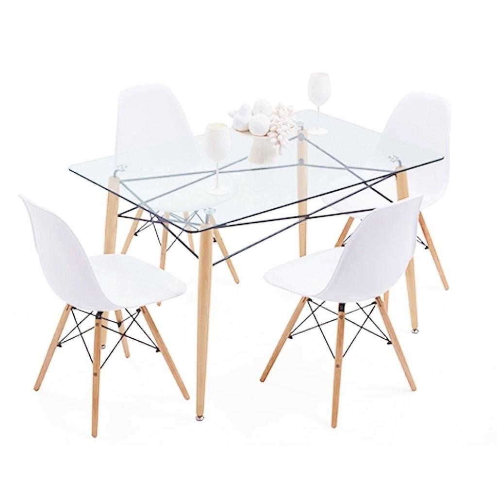 Mesa eames de vidrio 120x80 4 sillas eames emuebles for Mesa de cristal y 4 sillas