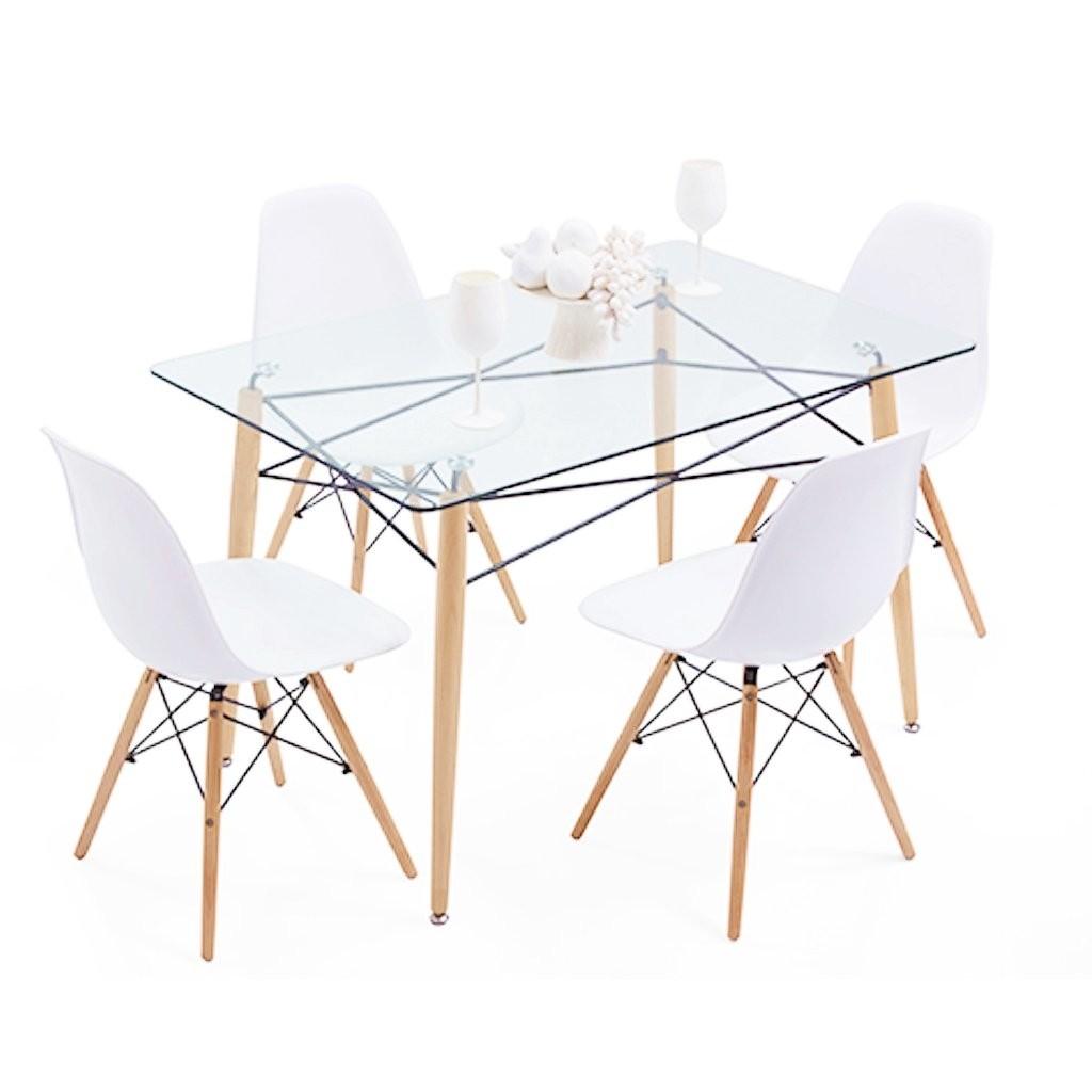Mesa eames de vidrio 140x90 4 sillas eames emuebles for Comedor vidrio 4 sillas