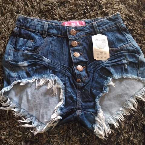 Shorts Jeans Destroyed Cintura Alta Feminino