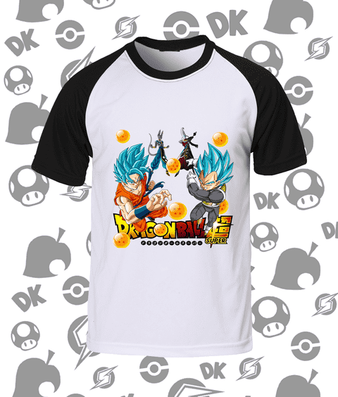CAMISA RAGLAN GOKU, VEGETA E BILLS