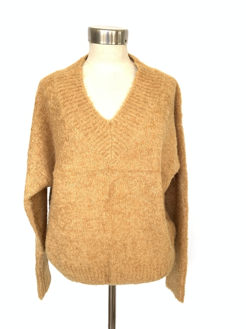Sweater escote en V mostaza