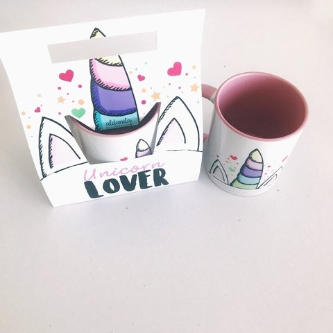 Taza unicorn lover interior color + packaging en internet
