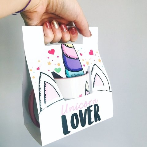 Taza unicorn lover interior color + packaging - aldanita