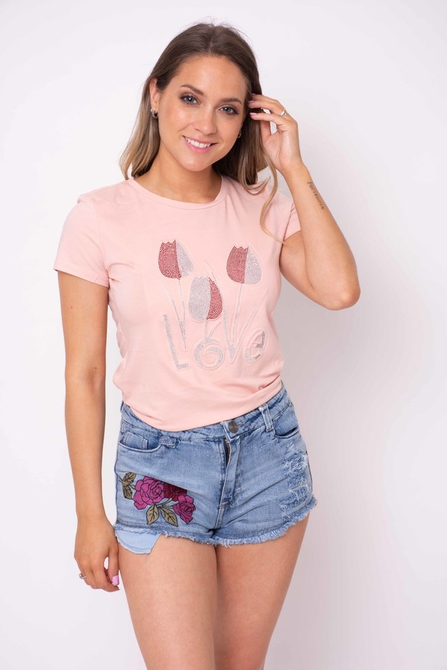 Remera Love Petalos con Brillos Art:2861