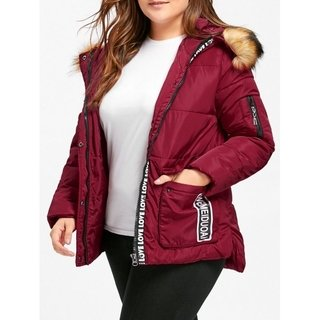 Padded Letter Print Hooded Plus Size Coat - Wine Red 5xl