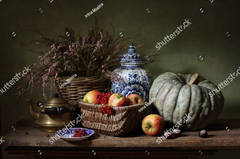 Still life with apples and a pumpkin - Irina Mosina