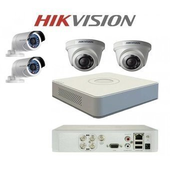 KIT SEGURIDAD HIKVISION DVR 4 CH + 4 CAMARAS HD