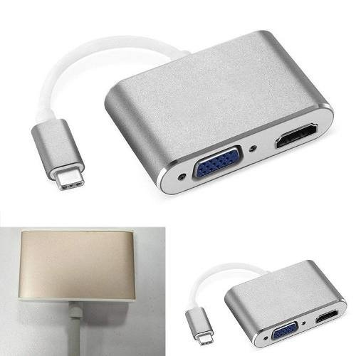 Adaptador Usb-c Hdmi Vga  Samsung Lg Macbook Nokia 4g Gb Hd - comprar online