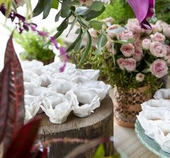 Image of Fabric Flower Wrappers for Wedding Sweets Beatriz (100 pieces)