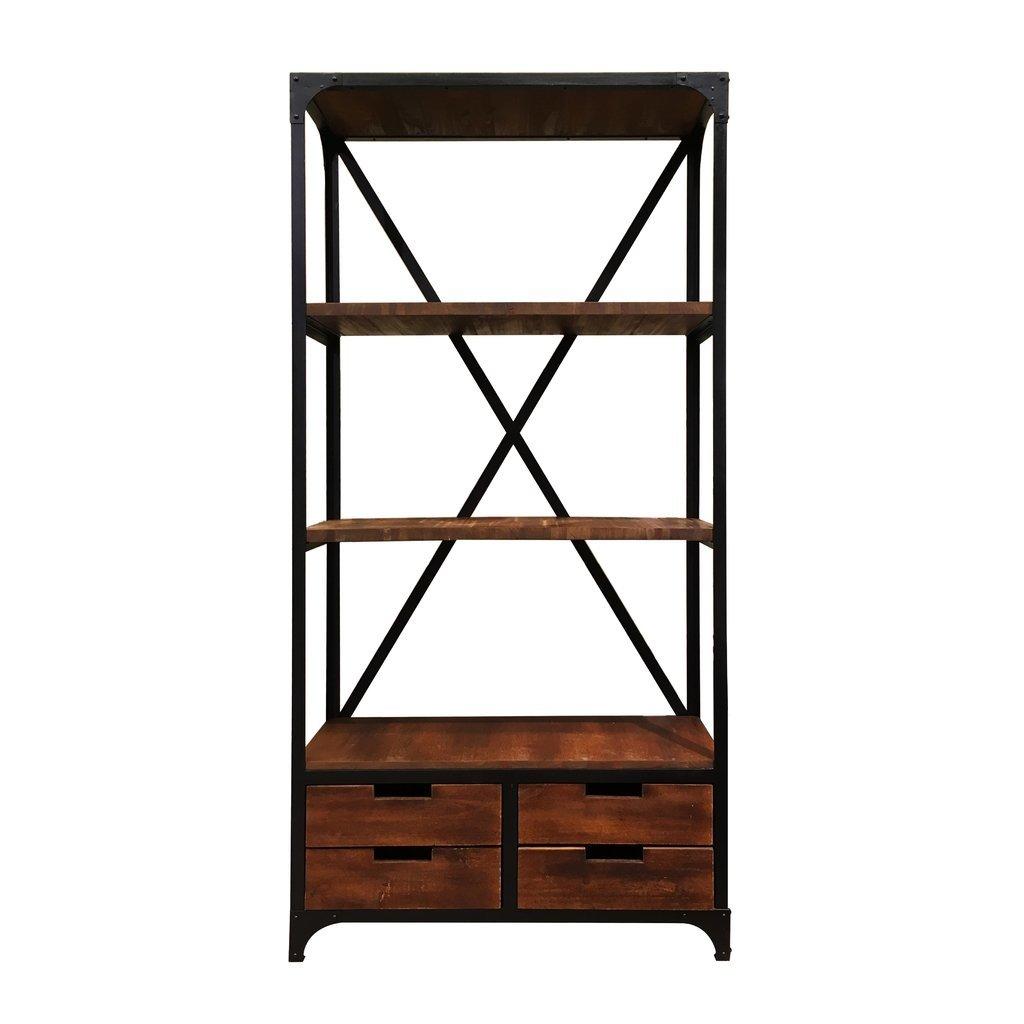 Estanteria hierro y madera con 4 cajones for Muebles industriales madera y hierro