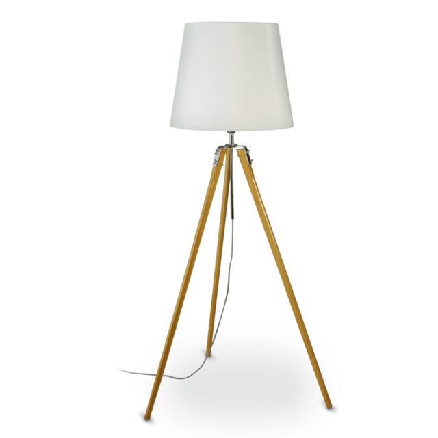 Floor Lamp Tripod Wood With White Screen E27