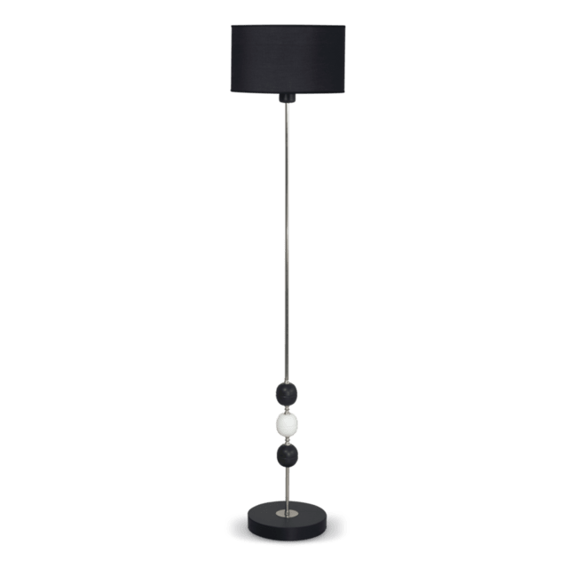 Floor lamp blackwhite wood with black screen aloadofball