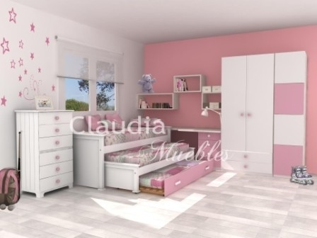 Cama nido triple laqueada comprar en claudia muebles for Camas nido triples precios
