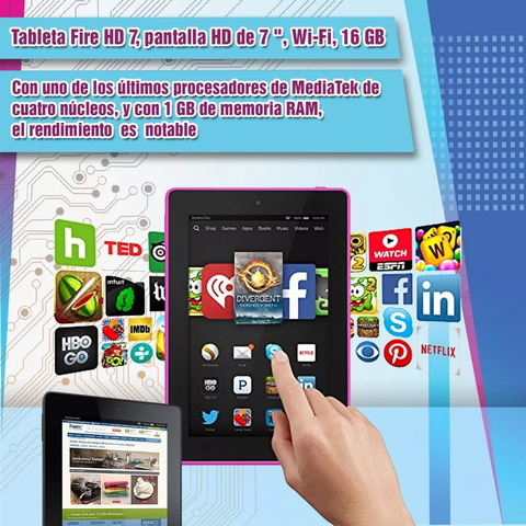 Tablet Amazon Kindle Fire 7 2017 16gb Magenta en internet