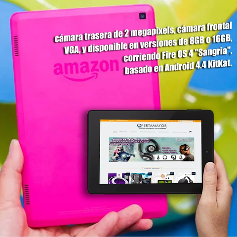 Tablet Amazon Kindle Fire 7 2017 16gb Magenta - OFERTAMAYOR