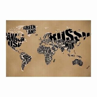 Cuadro Focu Deco Lienzo Canvas 20x30 World Map - Letras