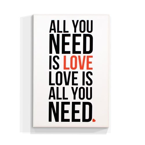 Cuadro Focudeco Lienzo Canvas 20x30 Frases All You Need Love