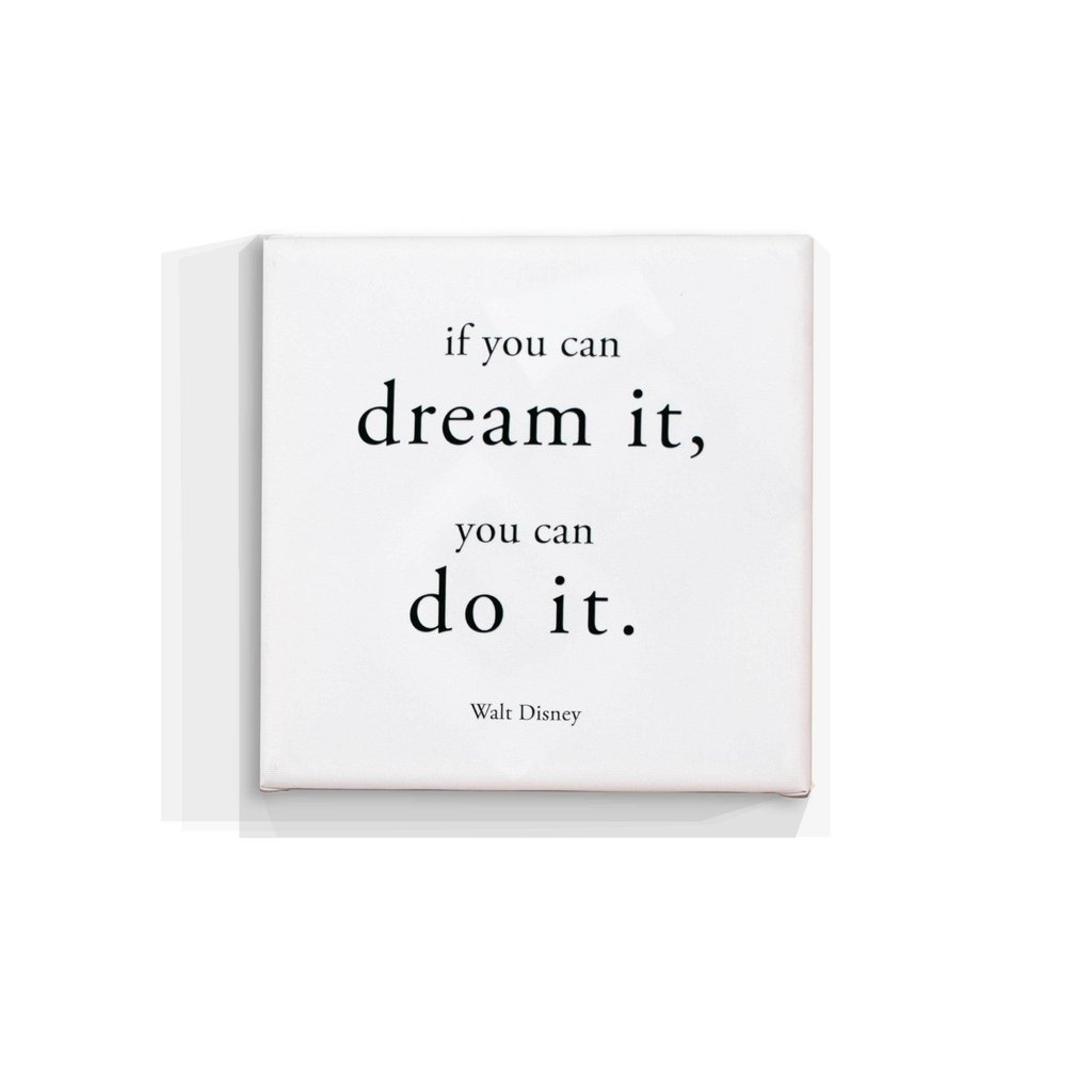 Cuadro Focu Deco Lienzo Canvas 20x20 Frase Blanco Dream It