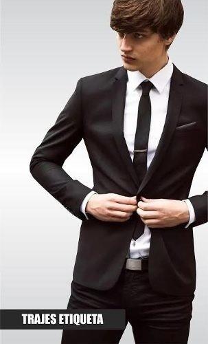 e718d7687d44c Traje Entallado Slim Fit Negro Con Pantalon Chupin