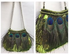 Cartera con Plumas de Pavo Real. - Pimpi Smith Collections