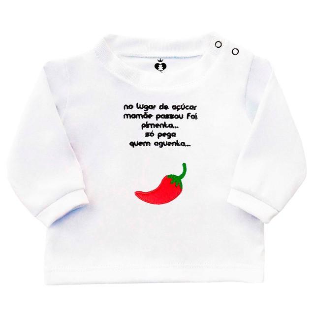 Camiseta Infantil Bebê Bordada Manga Longa Branca Algodão Pimenta e Frase  0d335a06b2c
