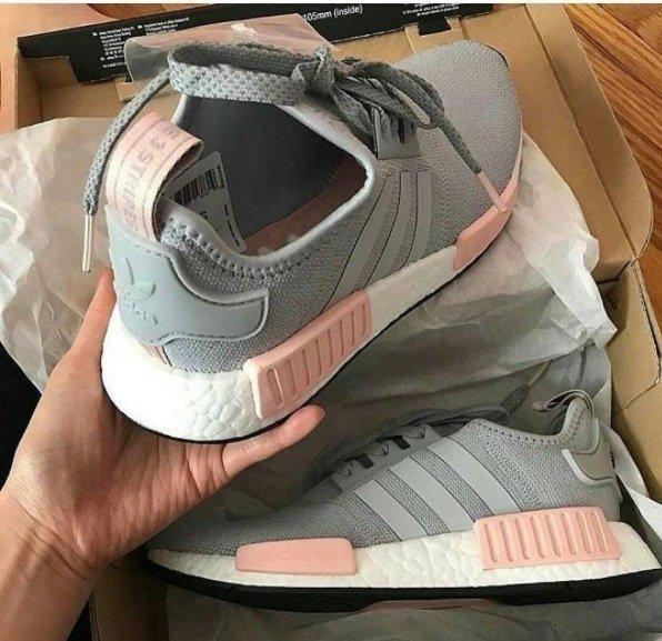 tenis adidas rosa com cinza