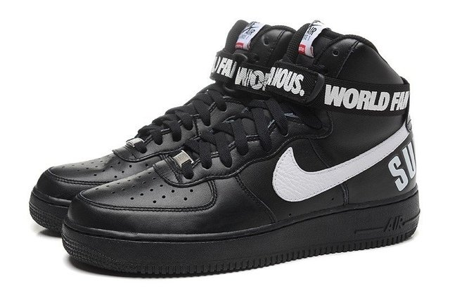 T 234 Nis Nike Air Force Supreme Mid World Famous Preto