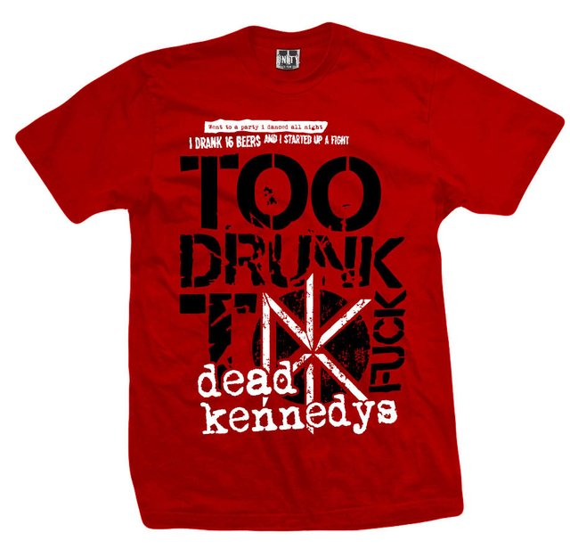 Remera DEAD KENNEDYS TOO DRUNK RED