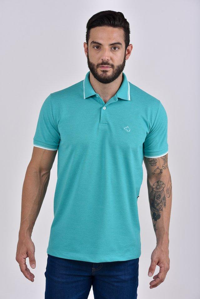 Camisa Polo verde claro com detalhes na gola e punhos 48aab3f881219