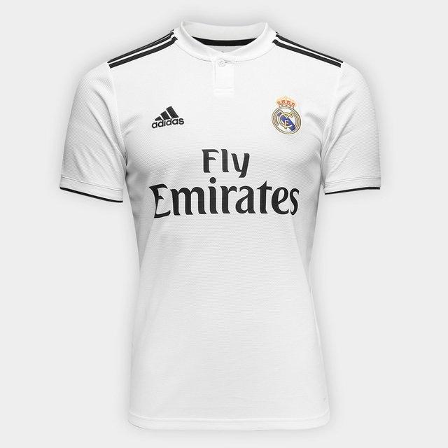 07025bcf2c Camisa Real Madrid Home 18 19 s n° Torcedor Adidas Masculina - Branco e  Preto