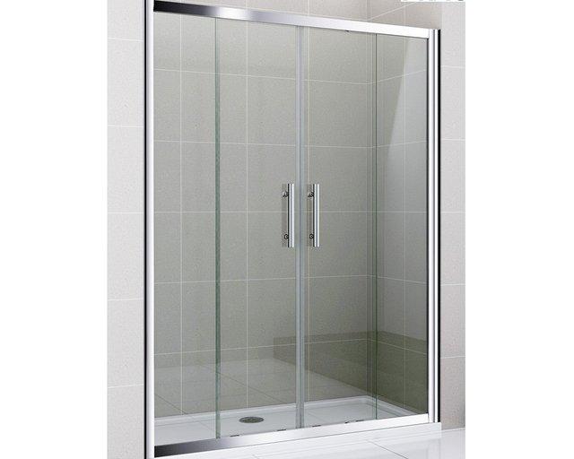 Mampara ba o corrediza sobre piso 160x190 vidrio 6mm 4 hojas - Mampara de bano ...