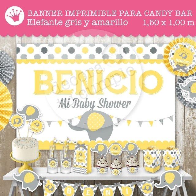 Banner Imprimible Personalizado Para Candybar Elefante Bebe Amarillo