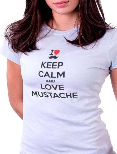 Camisetas Engraçadas Keep Calm And Love Mustache 2015