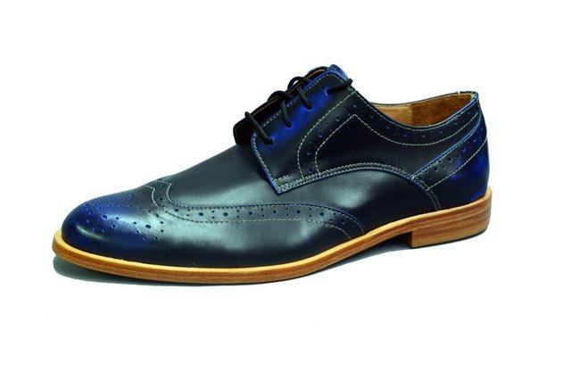 Suela Zapato Cuero Azul Cordones Picado Con Forrado Madera De BvUqBw0