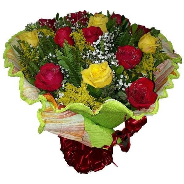 Buque 15 Rosas Vermelhas E Amarelas Carvalho Flores