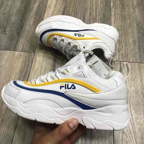 Tenis Zapatillas Fila Disruptor 2018 Blanca Amarilla Mujer 11e31d2892d