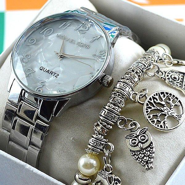 4d1d2198b12 Relógio Michael Kors Lacquered Glass Silver Pulseira Aço Feminino + PULSEIRA  e BRINCOS