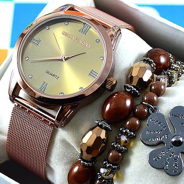 d001cf86cad Relógio Michael Kors Essential Slim Runway Bronze Fundo Dourado Pulseira  Esteira Aço Feminino + PULSEIRA e BRINCOS