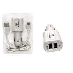 Kit Carregador Fast Charge + Cabo Usb V8 Veicular 2usb Turbo