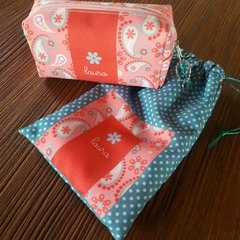 Kit necessaire box  + multiuso - Paisley rosa na internet