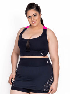 Top Plus Size Emana Transparency Preto