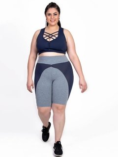 Top Plus Size Emana Strappy Marinho Ebony - Moda Fitness Plus Size