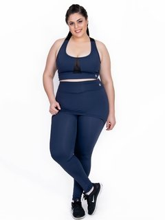 Top Plus Size Emana Transparency Marinho Ebony - Moda Fitness Plus Size
