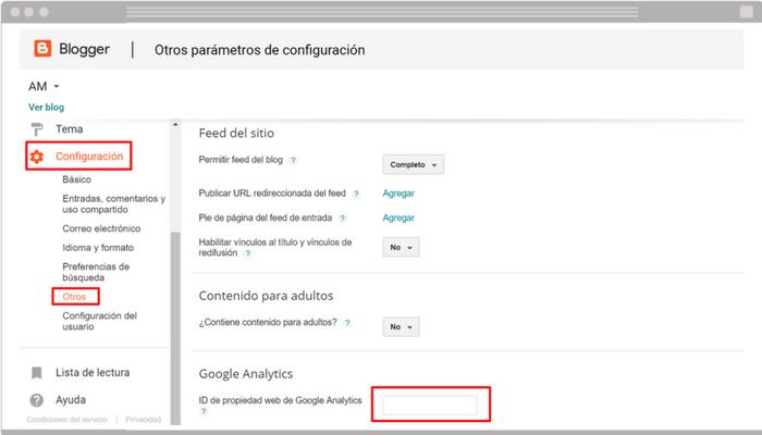 Integrar Google Analytics en Blogger