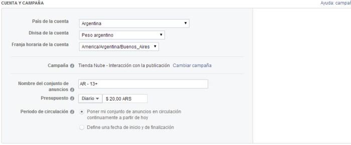 Configuración de cuenta y campaña en Facebook