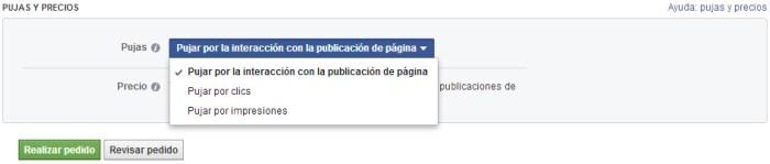Configuración de pujas y precios en Facebook