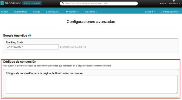 Configuración del código de conversión de tu Tienda Nube